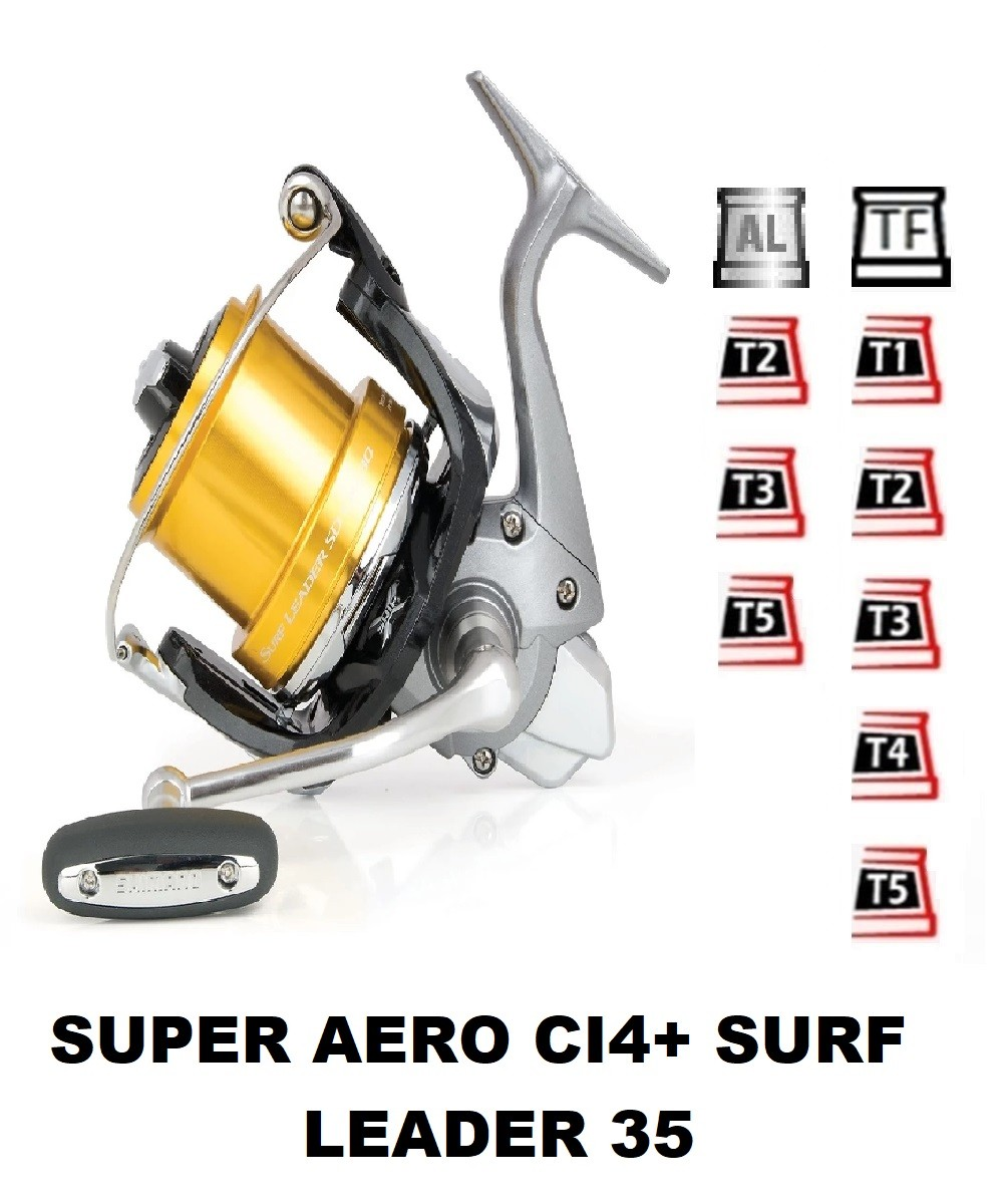 Spools and accessories compatible with fishing reel shimano Super Aero Sa Surf Leader Plus 35
