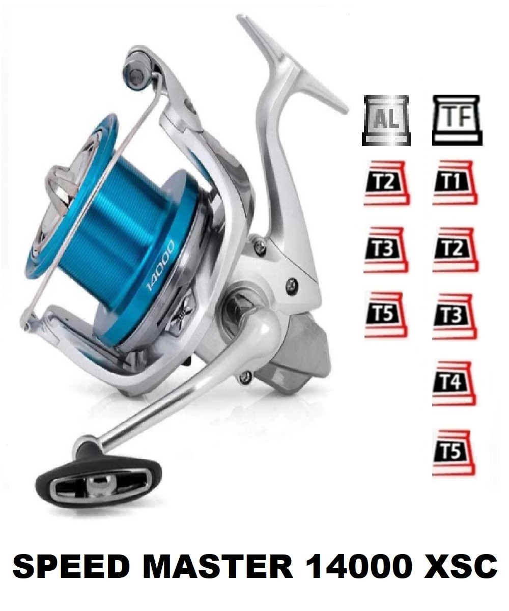 Spools and accessories compatible with fishing reel Shimano Speed Master 14000 XSC
